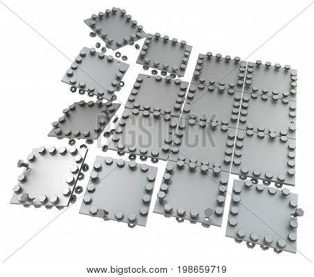 Metal plate pieces with bolts dark metal 3d illustration isolated horizontal over white