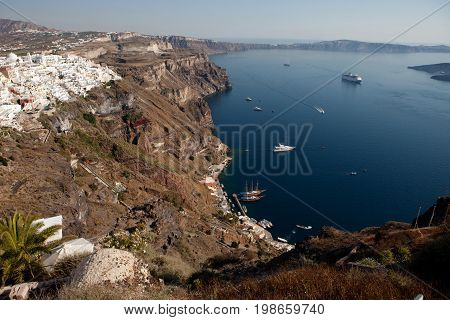 Santorini Island, View Of The Caldera From The City Thira (fira)