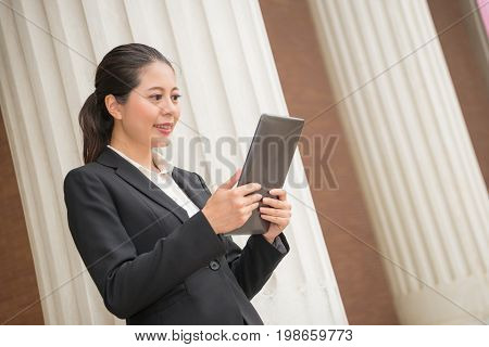 Business Woman Lawyer Watching Mobile Computer