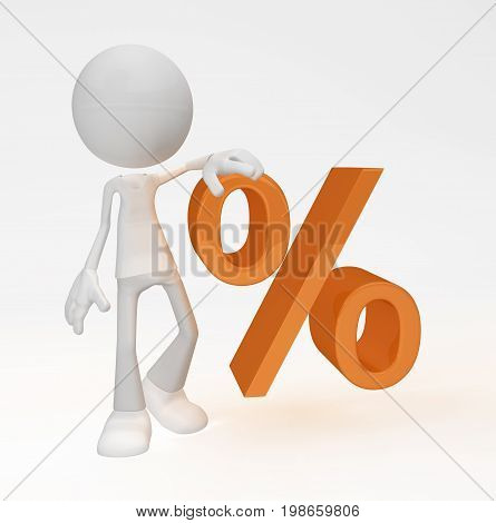 White symbolic figure standing with orange percent symbol 3d illustration horizontal