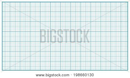 Millimeter Paper Vector. Blue. Graphing Paper For Education, Drawing Projects. Classic Graph Grid Paper Measure