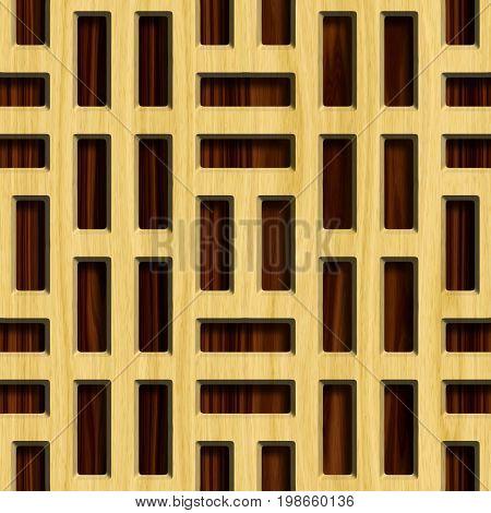 Wooden lattice on wood background. Seamless pattern. 3D rendering illustration.