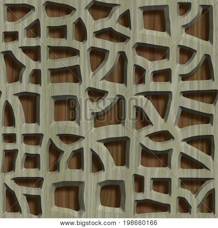 Ornamental wooden lattice on wood background.Seamless pattern.