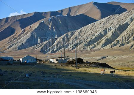 House and household of the shepherds in the mountains of Tien Shan. The Issyk-Kul region Kyrgyzstan