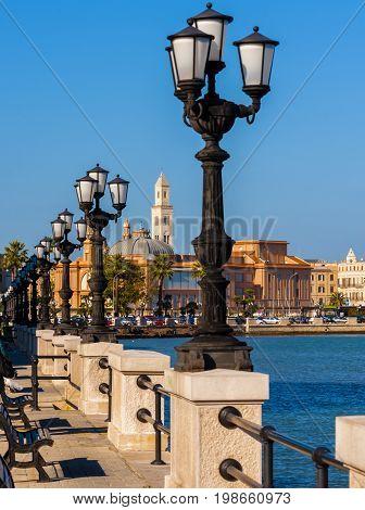 panoramic views of the waterfront of Bari Puglia - Italy