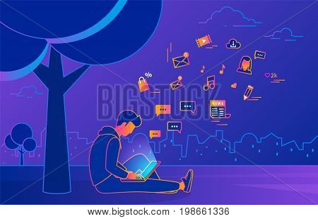 Young man sitting in the park under tree and working with laptop on violet background. Gradient line vector illustration of teen addicted to social networks, reading news and email and texting friends