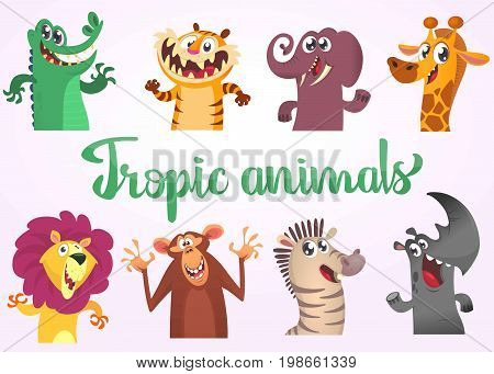 Cartoon tropic wild animals set. Vector illustrations of African animals. Crocodile alligator tiger elephant giraffe lion monkey chimpanzee zebra and rhino.