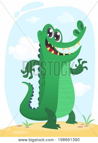 Cool funny cartoon crocodile character. Wild jungle animals collection. Baby education. Isolated. Simple nature swamp background. Vector illustration. Design element for print or sticker