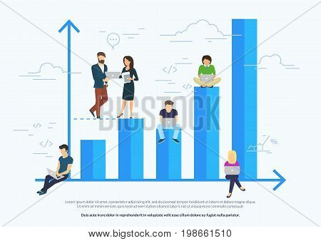 Business graph growth concept vector illustration of professional people working as team and sitting on blue growing chart. Flat people using laptops to develop business. White business background