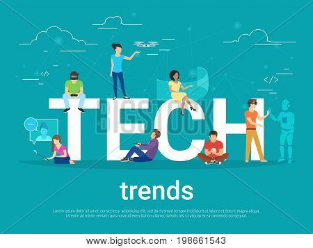 Tech trends concept vector illustration of young people using modern technologies such as virtual reality helmet, gadgets for augmented reality and remote controlled drone. Flat people and future apps