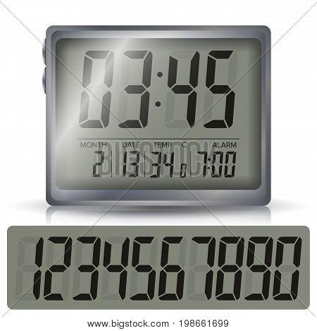 Alarm Clock Vector. Retro Liquid-Crystal Alarm Clock. Isolated Illustration