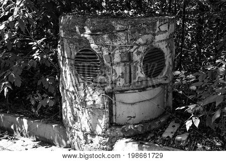 Old collapsing ventilation shaft from the anti-nuclear shelter. The Soviet period.