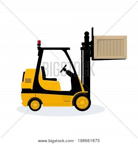 Yellow Forklift Truck Isolated on White Background Vehicle Forklift Lifted the Box Up Vector Illustration