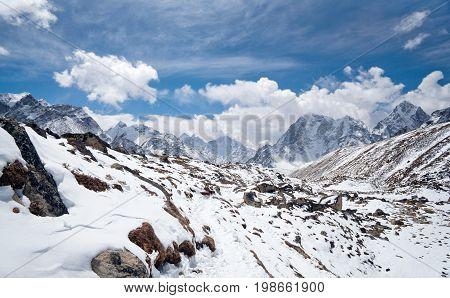 Road to Everest Base Camp - Himalayan mountain landscape in Sagarmatha National Park, Everest region, Nepal, Himalayas