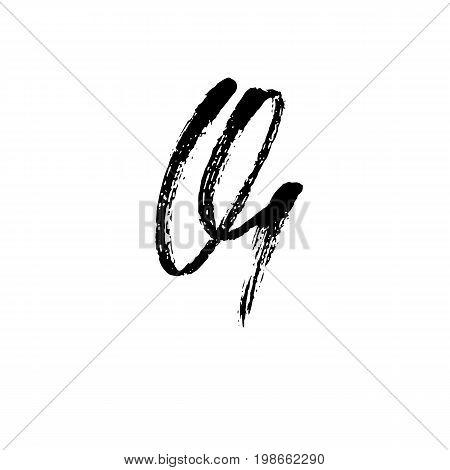 Letter Q. Handwritten by dry brush. Rough strokes font. Vector illustration. Grunge style alphabet.