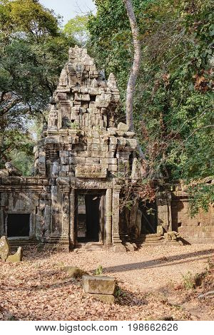 Mysterious gopura on woods background near Baphuon temple in Angkor Thom Complex, Siem Reap, Cambodia. Ancient Khmer architecture famous Cambodian landmark World Heritage
