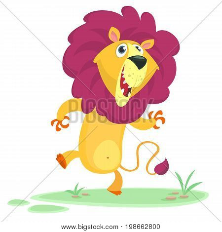 Funny cartoon lion dancing. Vector image isolated on simple Savannah background.