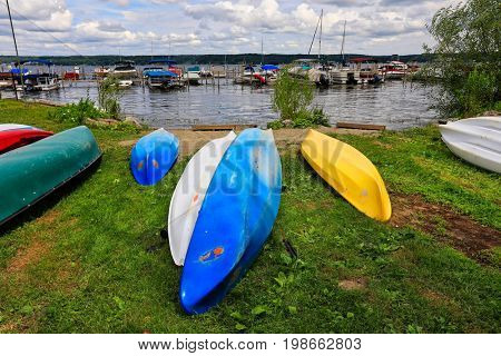 Lake Chautauqua, in western New York, is a beautiful recreation area and vacation destination. The marina is full of pleasure boats.