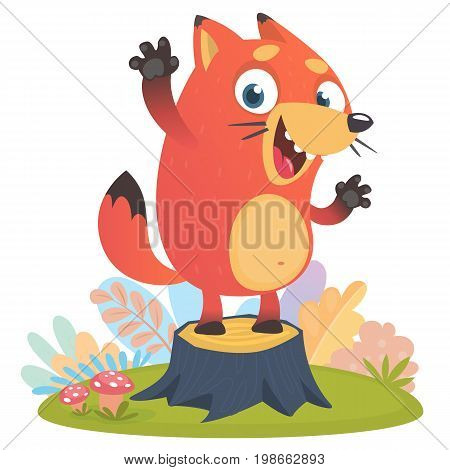 Cartoon cool little fox standing and waving on tree stump in summer season background with flower and mushrooms. Vector illustration isolated