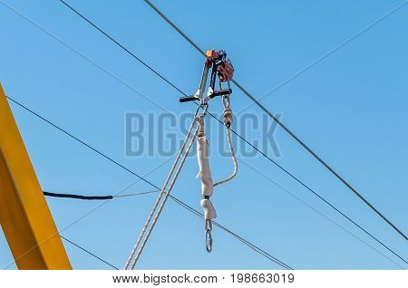 Equipment for safe trolling on a steel cable. Zipline.