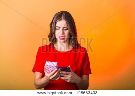 Beautiful Woman With Present Box