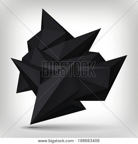 Volume geometric shape, 3d levitation black crystal, creative low polygons dark object, vector design form