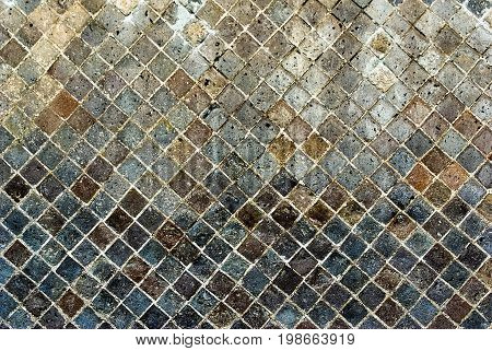 Stone Wall from Pompeian Ruins. Opus reticulatum is a form of brickwork used in ancient Roman architecture.