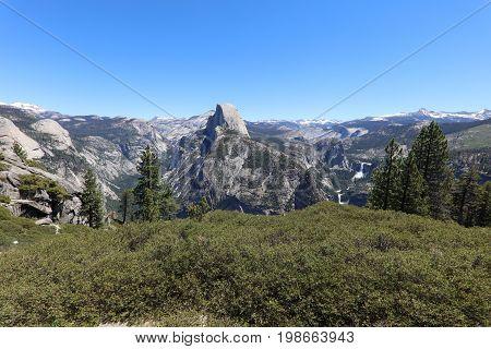 Yosemite National Park with Half Dome and Waterfalls. California. USA