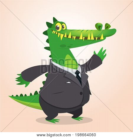 Cute cartoon crocodile alligator or dinosaur wearing black businessman suit. Vector illustration of a lovely crocodile mascot isolated