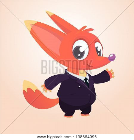 Cartoon brown fox dressed up in office suit presenting. Vector art illustration. Fashion animal or business animal.Fox mascot businessman