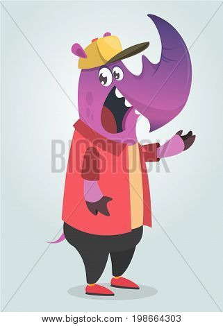 Cartoon teenage fashion hipster purple rhino. Flat vector illustration.