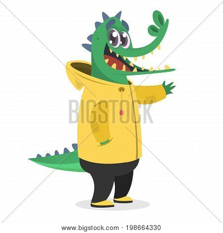Cartoon hipster crocodile in a yellow rain coat. Animal in clothing. Casual style. Cartoon vector illustration. Anthropomorphic.