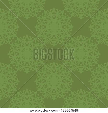 Seamless green background with symmetrical abstract pattern. Vector