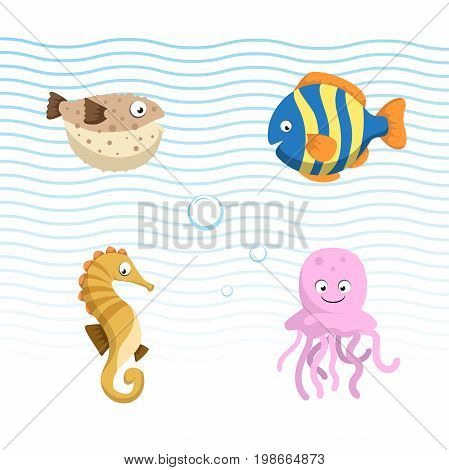 Vector cute different sea and ocean animals set. Isolated vector illustration. Colorful fish seahorse jellyfish blowfish.