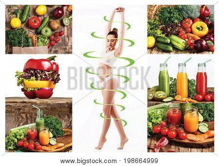 Female body with a cycle arrows. Fat lose, healthy eating and nutrition concept. Collage
