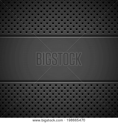 Black abstract technology background with seamless circle perforated pattern, speaker grill texture and bevels for design concepts, wallpapers, web, presentations and prints. Vector illustration.