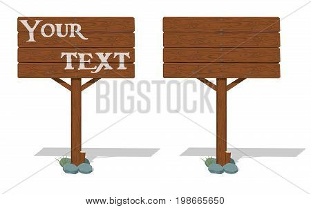 Isolate wooden signpost on transparent background. for your content