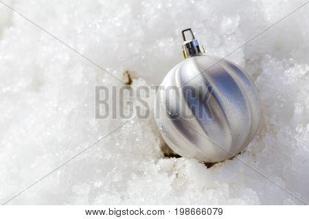 Christmas Balls On Snow,closeup.