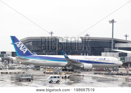 Narita Japan - May 12017 ANA airplane located in Narita airport wait the passenger for departure