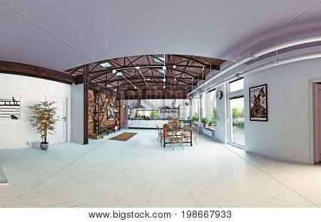 modern loft kitchen interior. fisheye lens panorama. 3d rendering concept