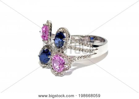 Engagement Ring on white background, blue ,silver, pink