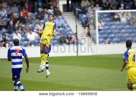 LONDON, UK AUGUST 2,Erjon Bogdani heads a ball at the pre-season friendly football match between QPR and Chievo,