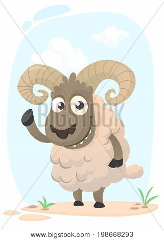 Funny cartoon sheep. Vector illustration of pretty sheep baby. Isolated on meadow background
