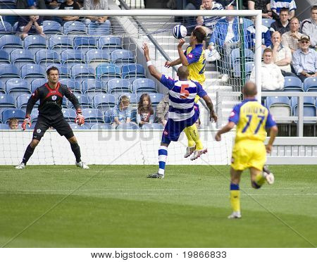 LONDON, UK AUGUST 2,Erjon Bogdani attempts to score with a header at the pre-season friendly football match between QPR and Chievo,