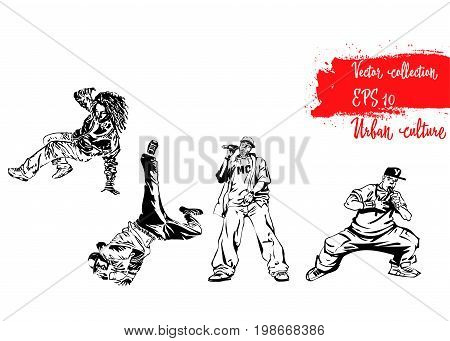 Set of illustrations with representatives of Urban Culture. Breakdancers and rapers. Extreme theme modern print. Vector design elements. Isolated on white