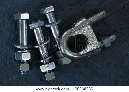 Used Bolts on contrast background , metal