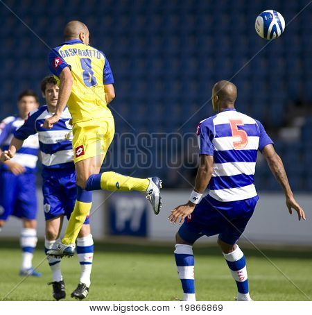 LONDON, UK AUGUST 2, Mirco Gasparetto with a leaping header at the pre-season friendly football match between QPR and Chievo,