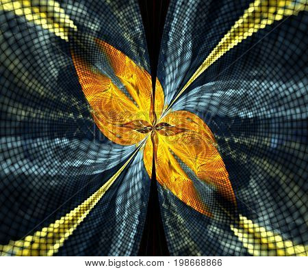 Computer generated fractal artwork with pixelized fly