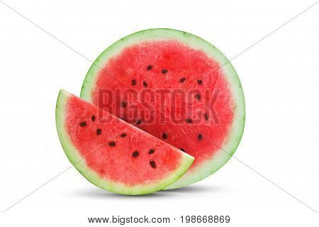 Cut in half fresh watermelon and slices of watermelon isolated on white background. An isolated object.
