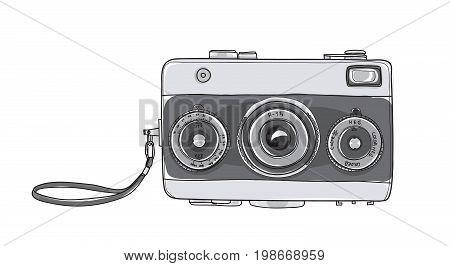 Film Camera vintage 35 mm Rangefinder hand drawn cute vector art illustration